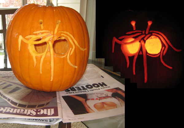 Timothy's pumpkin.  Please note the careful editing work I did to preserve the hooters ad.