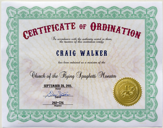 Certificates of Ordination « Church of the Flying Spaghetti Monster